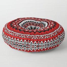 Red and Black Mandala Floor Pillow