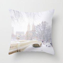 Central Park New York City Snow Day Throw Pillow