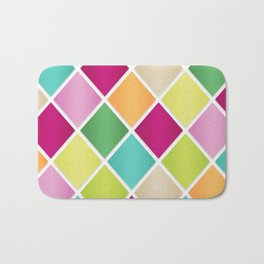 Modern Diamond Geometric Pattern Design // Pink Orange Green Blue Bath Mat
