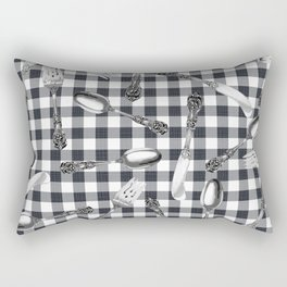 Utensils on Black Picnic Blanket Rectangular Pillow