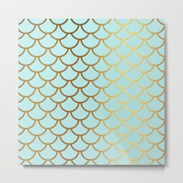 Aqua Teal And Gold Foil MermaidScales - Mermaid Scales Metal Print