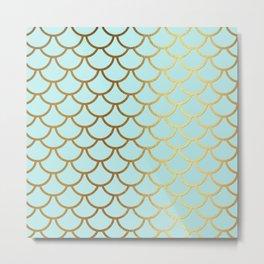 Aqua Teal And Gold Foil MermaidScales - Mermaid Scales Metal Print
