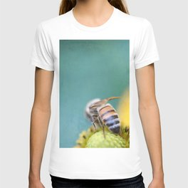 Honeybee on Teal Blue and Yellow T-shirt