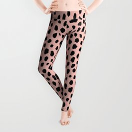 Pink and Black Dalmatian Spots (black/pink) Leggings
