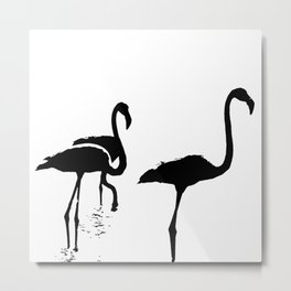 Three Flamingos Black Silhouette Isolated Metal Print