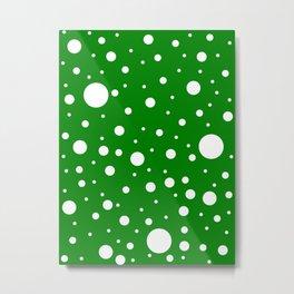 Mixed Polka Dots - White on Green Metal Print