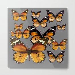 DECORATIVE BUTTERSCOTCH & TOFFEE BROWN BUTTERFLIES ART Metal Print