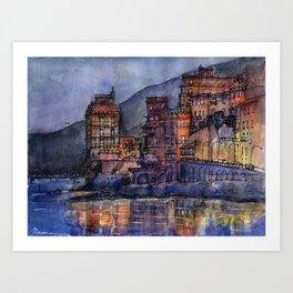 Palazzi sul mare al crepuscolo Art Print