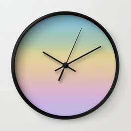 Pastel Rainbow Ombre Gradient Wall Clock