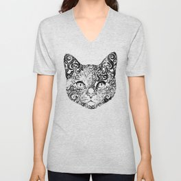 Swirly Cat Portrait (b/w) Unisex V-Neck