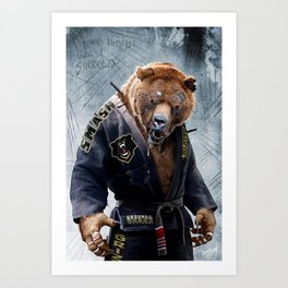 Jiu Jitsu Grizzly Art Print