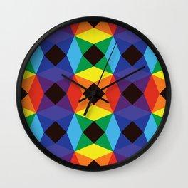 Rainbow Octagons Wall Clock
