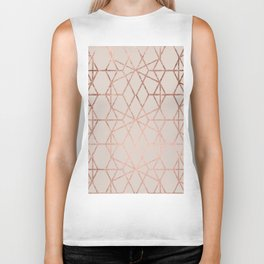 Modern rose gold geometric lines abstract pattern on taupe Biker Tank