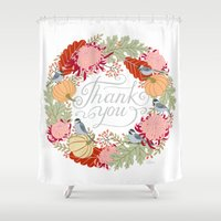 thanksgiving Shower Curtains featuring Thanksgiving thank you card by Yuliya