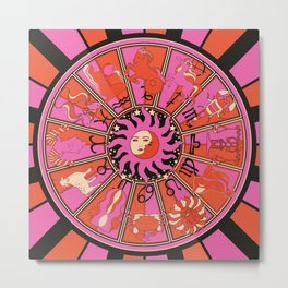 Harley and J Zodiac Hot Pink Metal Print