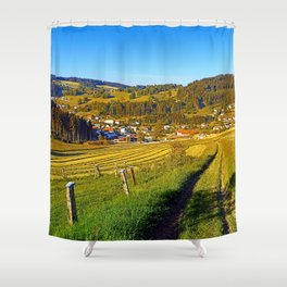 Path down to the village Shower Curtain