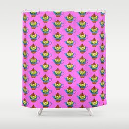 Dream Pattern - House in Cup - TeaPot - Dream Color - Pink Shower Curtain
