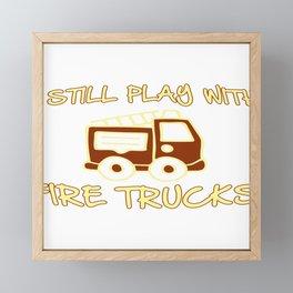 Firefighter Fire Truck Department Fire Engine Gift Framed Mini Art Print