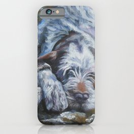 Spinone Italiano dog art portrait from an original painting by L.A.Shepard iPhone Case