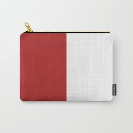 White and Firebrick Red Vertical Halves Carry-All Pouch