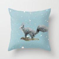 squirrel Throw Pillows featuring SQuirrel by Monika Strigel®