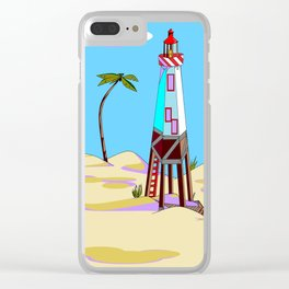 A Lighthouse on the Lazy, Sunny Beach with Palm Trees Clear iPhone Case