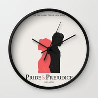 pride and prejudice Wall Clocks featuring Pride and Prejudice by Abbie Imagine