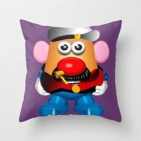 popeye Throw Pillows featuring Popeye Potato Head by tgronberg