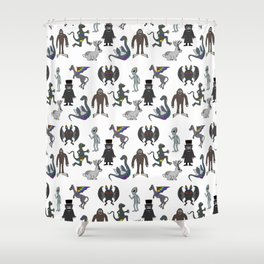 Cryptid Friends Shower Curtain