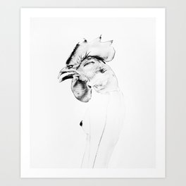 woman with a rooster head Art Print