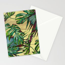 Tropical Palm Leaves on Wood Stationery Cards