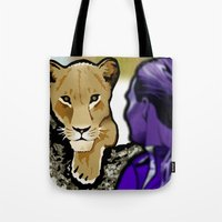 lesbian Tote Bags featuring The Lesbian & the Lioness by BinaryGod.com