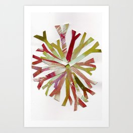 Watercolor Snowflake Red Gold Holiday Collage Art Print
