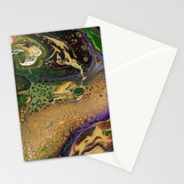 Fluid Gold XII - Abstract, textured, fluid, acrylic painting Stationery Cards