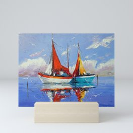 Sailboats in the sea Mini Art Print