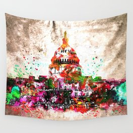 United States Capitol Grunge Wall Tapestry