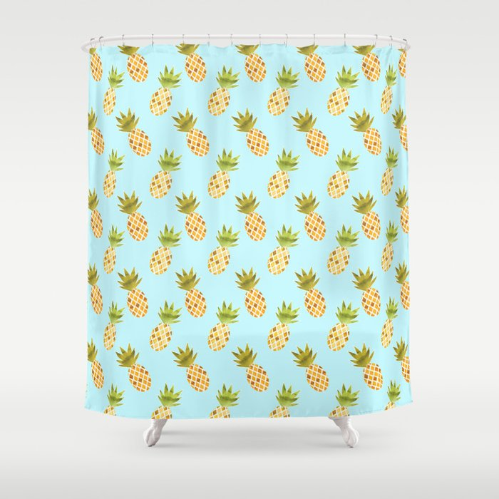 Blue Tropical Pineapple Pattern Shower Curtain