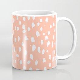 Handdrawn Polka Dot Pattern - White on Peach Coffee Mug