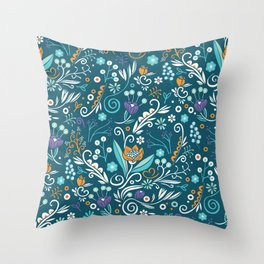 Flower circle pattern, blue Throw Pillow