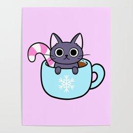 Winter Cocoa Cat Poster