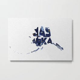 Alaska Typographic Flag Map Metal Print