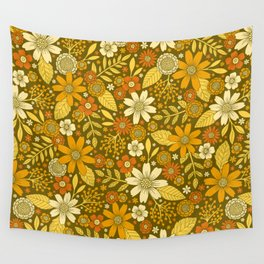 1970s Retro Flowers Pattern in Yellow, Orange & Olive Green Wall Tapestry