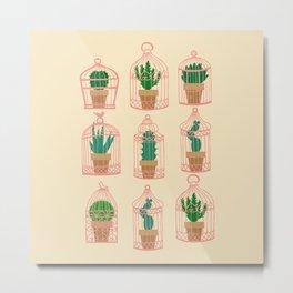 Cactus in birdcage Metal Print