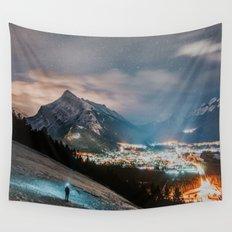 Banff at night Wall Tapestry