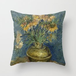 Fritillaries in a Copper Vase by Vincent van Gogh Throw Pillow
