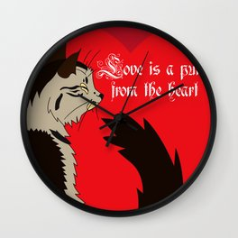 Love is a purr from the Heart Wall Clock