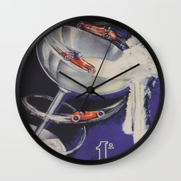 Auto Racing Vintage Poster Wall Clock