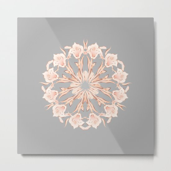 Rose Gold Gray Lilies Mandala Metal Print
