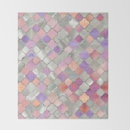 Quatrefoil Moroccan Pattern Mother of Pearl and quartz Throw Blanket