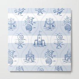 Sandcastle Nautical_Pattern Metal Print